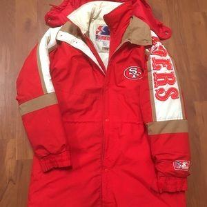 Vintage 49ers starter down long jacket / parka